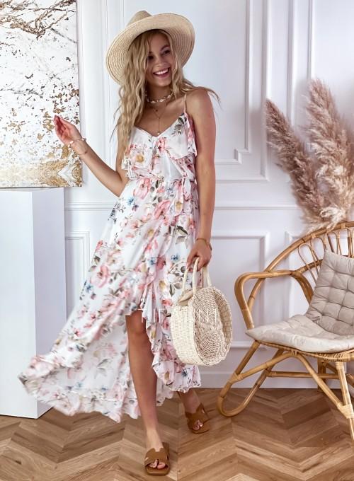 Długa sukienka Vegas biała w kwiatki