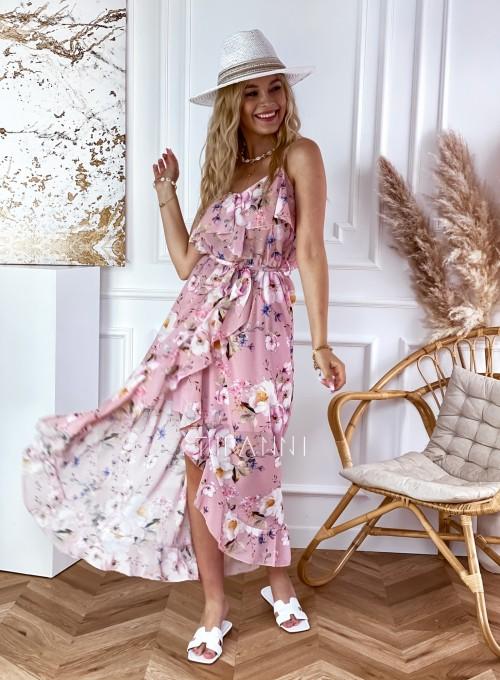 Długa sukienka Vegas pudrowa w kwiatki