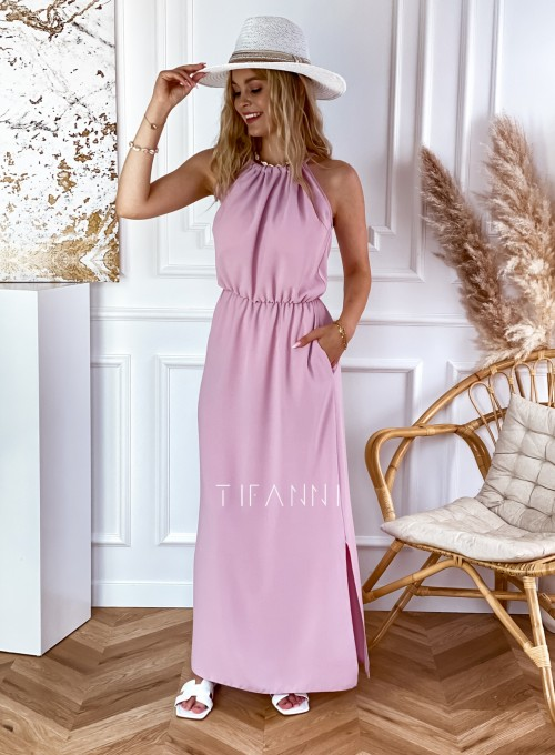 Sukienka Natali maxi pudrowa