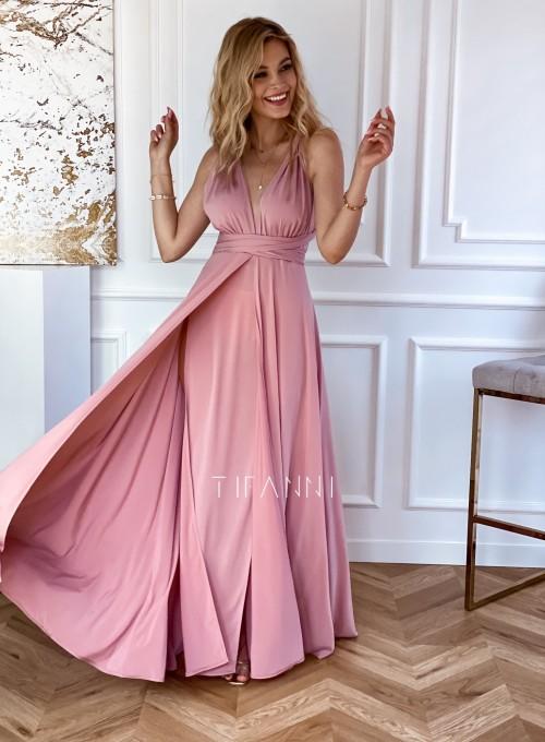 Długa sukienka KoKo pudrowa