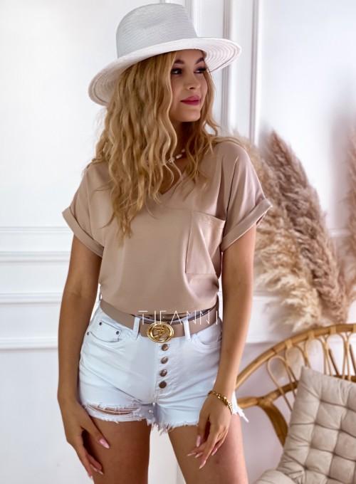 T-shirt Kim z kieszonką na piersi beżowy
