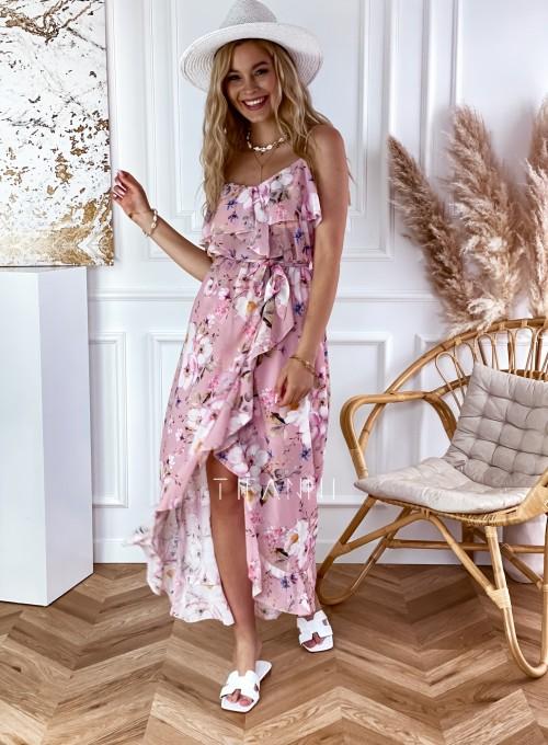 Długa sukienka Vegas pudrowa w kwiatki 4