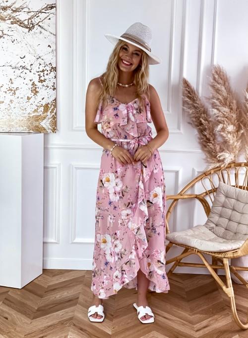 Długa sukienka Vegas pudrowa w kwiatki 5