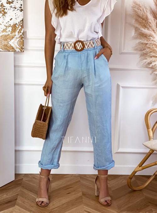 Spodnie Queenie błękitne 3