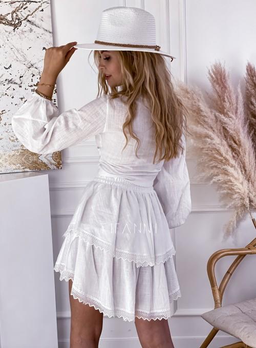 Komplet bluzka spódnica Vogue biały 2