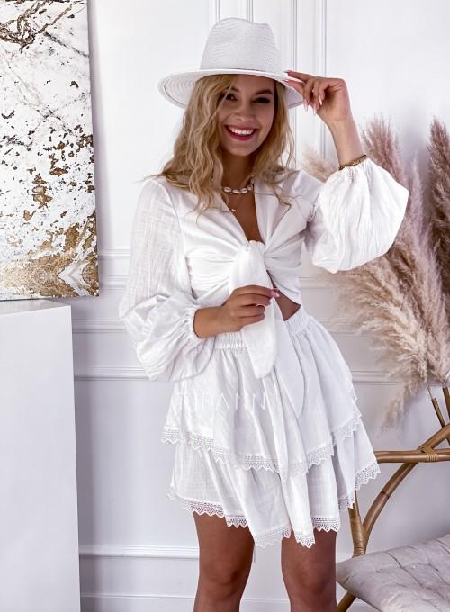 Komplet bluzka spódnica Vogue biały 4