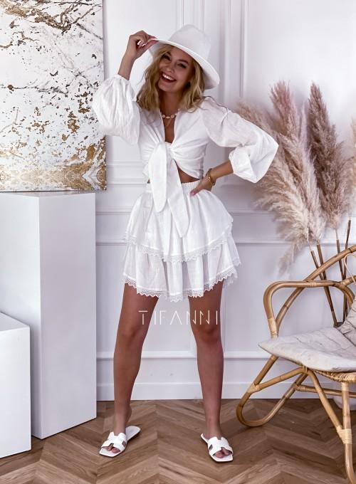 Komplet bluzka spódnica Vogue biały 5