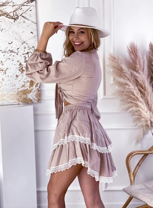 Komplet bluzka spódnica Vogue beżowy 2