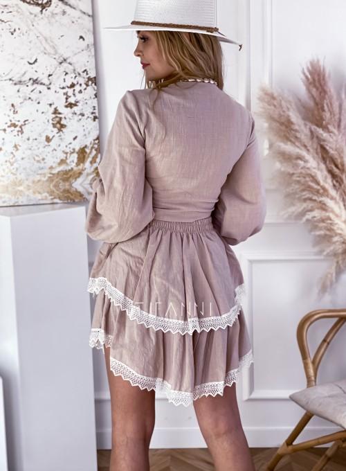 Komplet bluzka spódnica Vogue beżowy 4