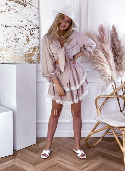 Komplet bluzka spódnica Vogue beżowy 6