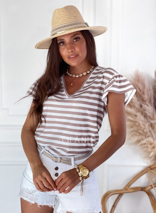 T-shirt z falbanką na rękawie Casy strips beżowy