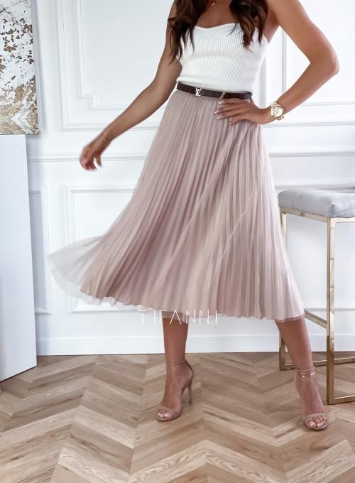 Plisowana dwustronna spódnica Lady beżowa