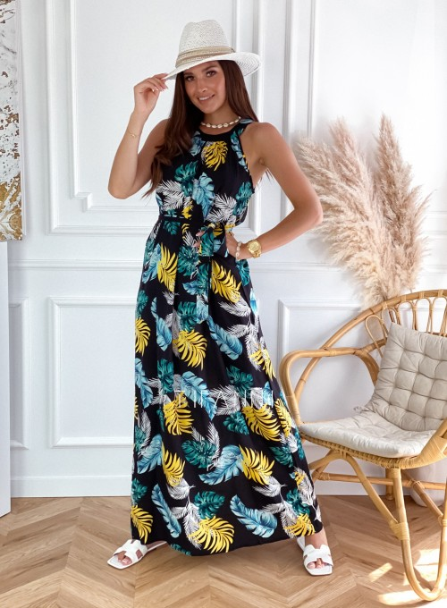 Sukienka maxi Carlo black palms