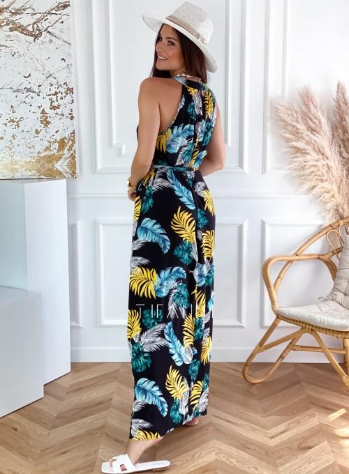 Sukienka maxi Carlo black palms 4