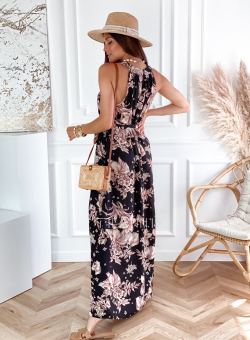Sukienka maxi Carlo czarna w kwiatki 1