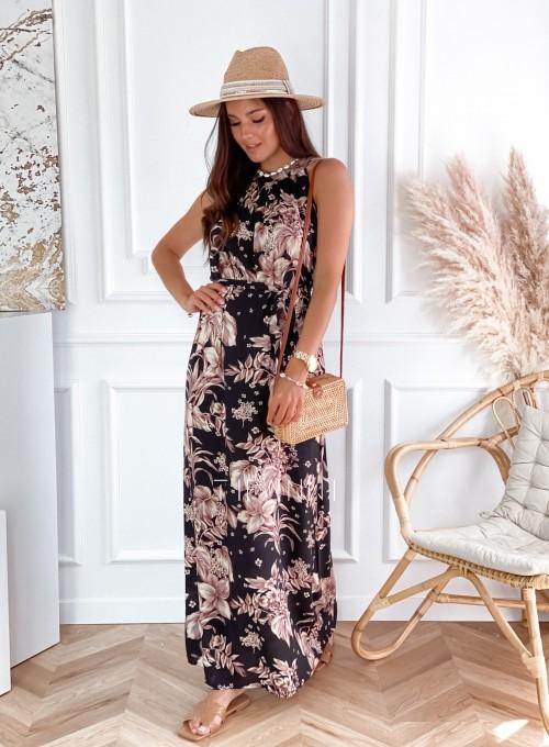Sukienka maxi Carlo czarna w kwiatki 3