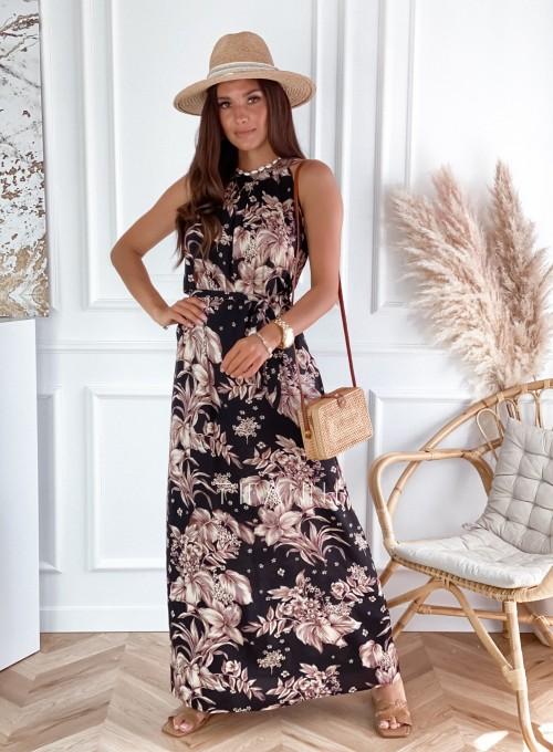 Sukienka maxi Carlo czarna w kwiatki 4