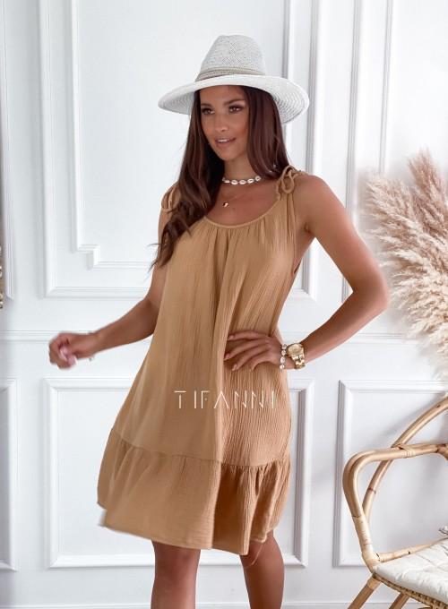 Letnia zwiewna sukienka Westi beżowa 2