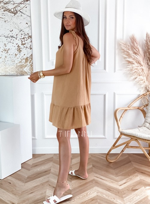 Letnia zwiewna sukienka Westi beżowa 3