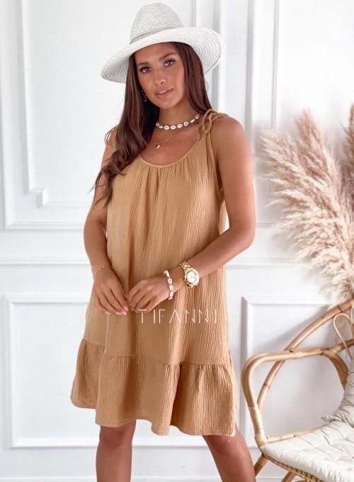 Letnia zwiewna sukienka Westi beżowa 4