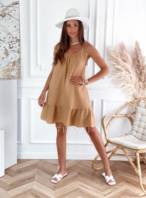 Letnia zwiewna sukienka Westi beżowa 1