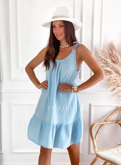 Letnia zwiewna sukienka Westi błękitna
