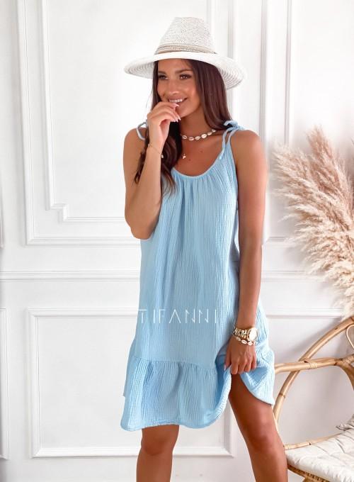 Letnia zwiewna sukienka Westi błękitna 3