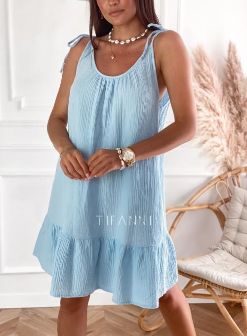 Letnia zwiewna sukienka Westi błękitna 4