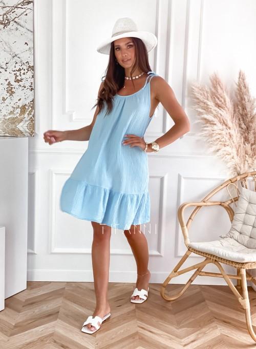 Letnia zwiewna sukienka Westi błękitna 5