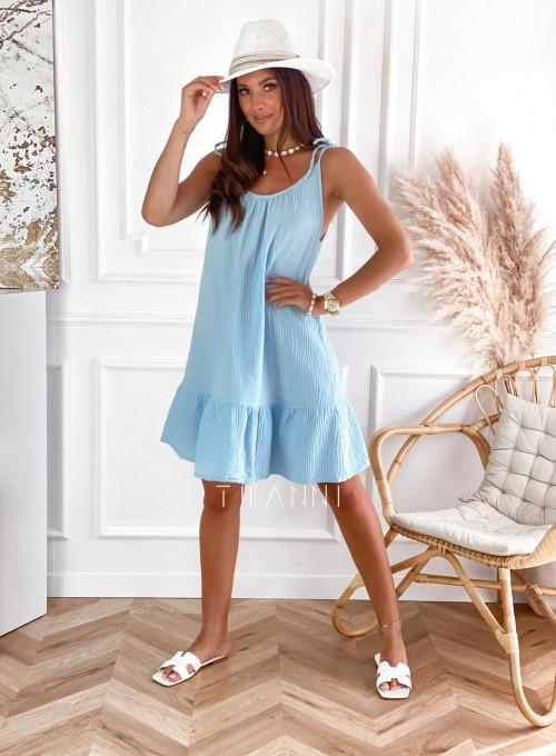 Letnia zwiewna sukienka Westi błękitna 6
