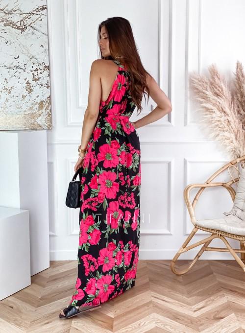 Sukienka maxi Carlo pink flowers 1