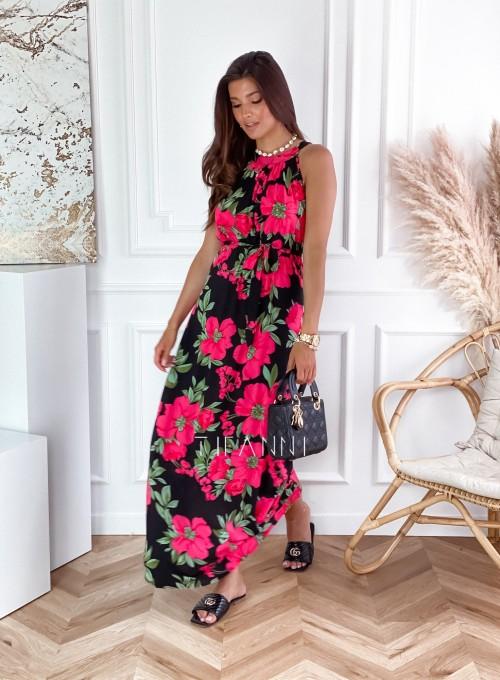 Sukienka maxi Carlo pink flowers 3