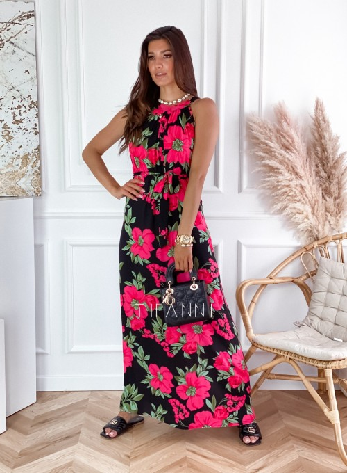 Sukienka maxi Carlo pink flowers 4