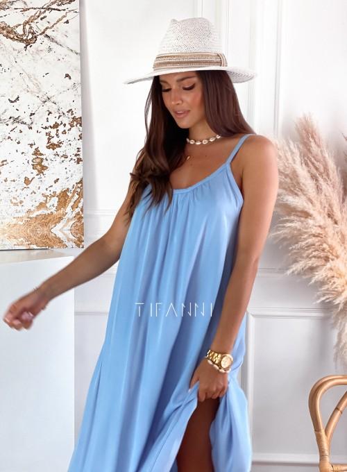 Zwiewna sukienka Julia maxi błękitna 1