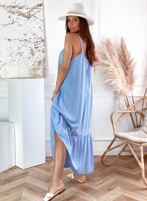 Zwiewna sukienka Julia maxi błękitna 2