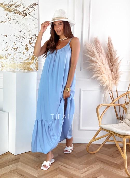 Zwiewna sukienka Julia maxi błękitna 3