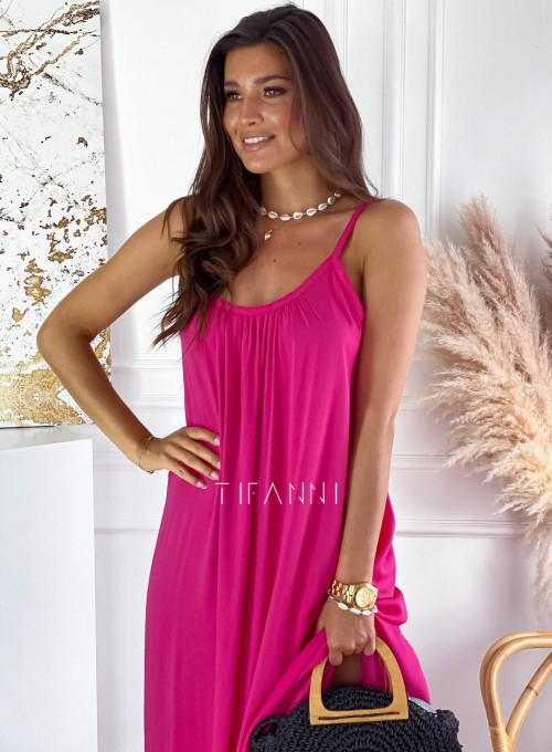 Zwiewna sukienka Julia maxi fuksja 1