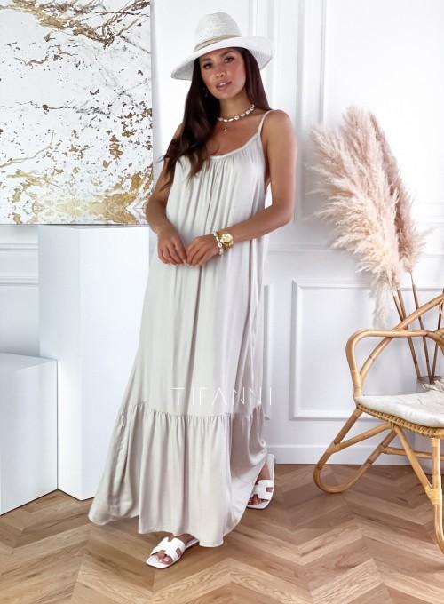 Zwiewna sukienka Julia maxi beżowa