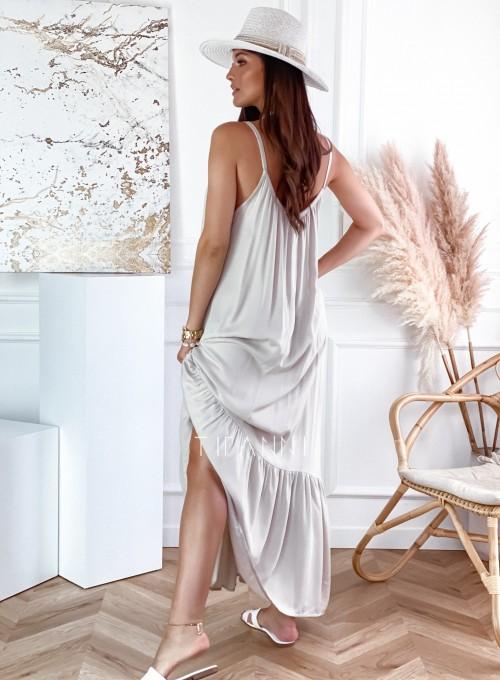 Zwiewna sukienka Julia maxi beżowa 1