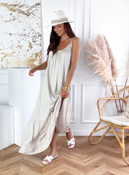 Zwiewna sukienka Julia maxi beżowa 3