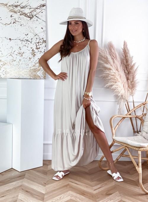 Zwiewna sukienka Julia maxi beżowa 4