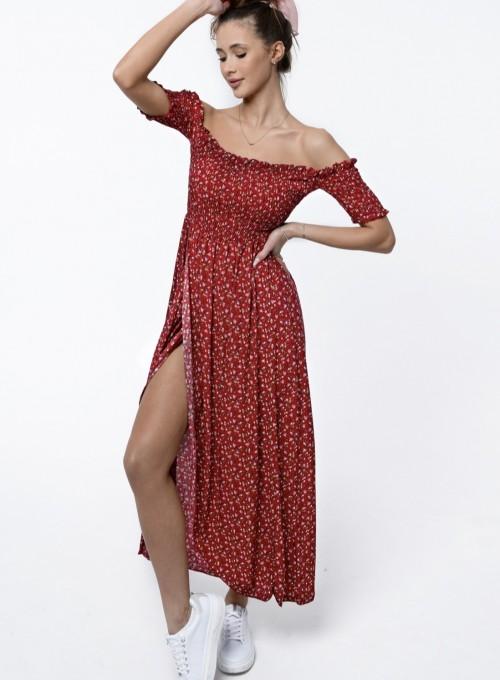 Sukienka hiszpanka Flora łączka bordowa 2