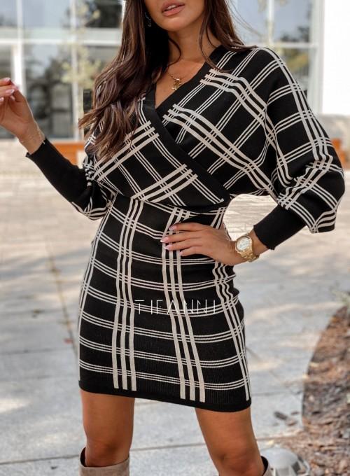 Sukienka dzianinowa Bibi czarna w beżową kratę 1