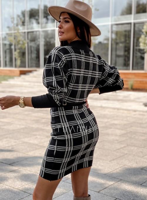 Dzianinowa sukienka Ximi czarna w beżową kratę 3