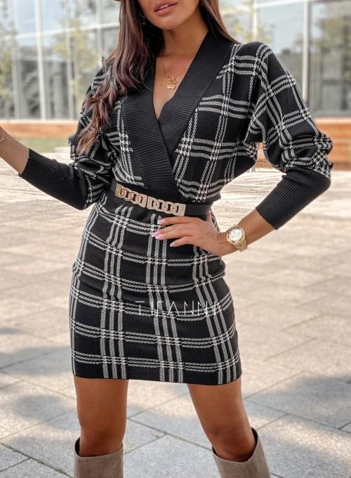 Dzianinowa sukienka Ximi czarna w beżową kratę 1