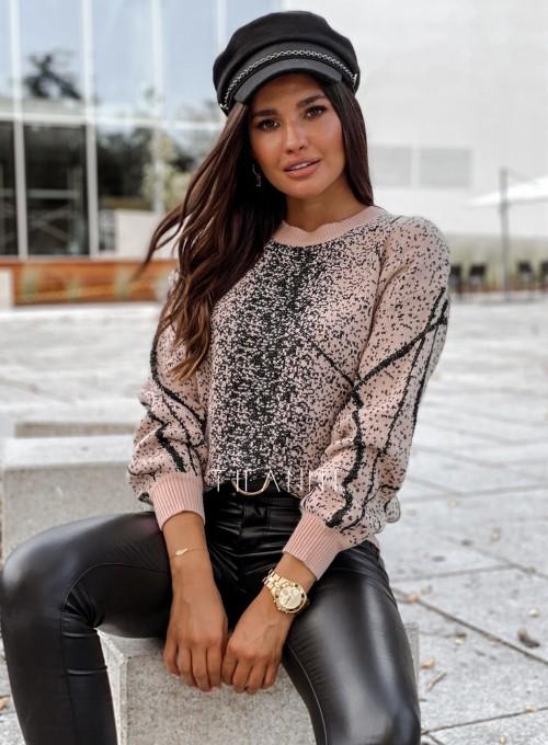 Sweter Dodi pudrowo - czarny