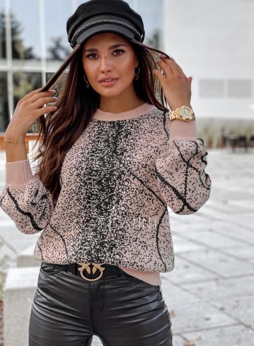 Sweter Dodi pudrowo - czarny 2