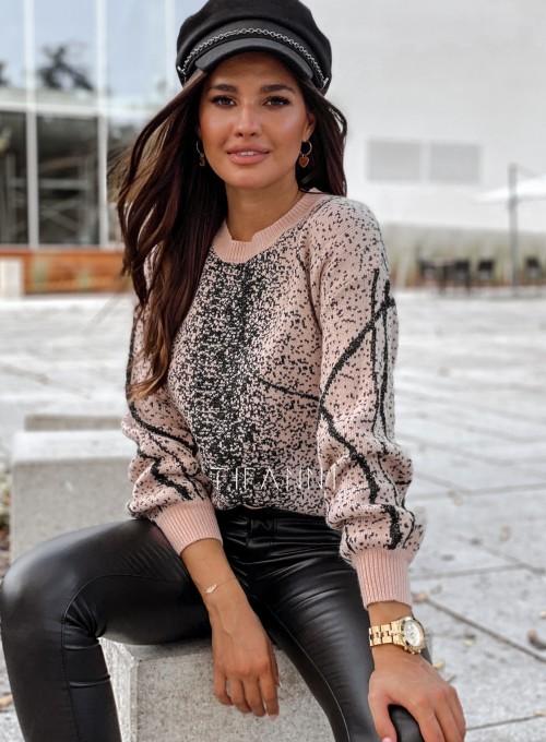 Sweter Dodi pudrowo - czarny 4