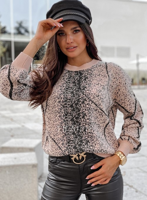 Sweter Dodi pudrowo - czarny 5