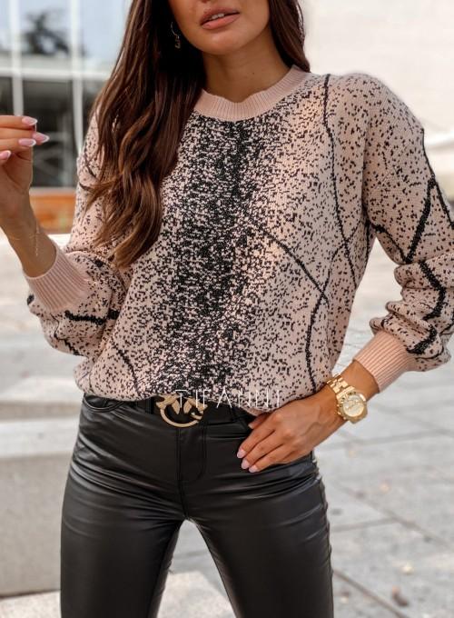 Sweter Dodi pudrowo - czarny 1